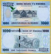 -- RWANDA 1000 FRANCS 2015 BK P39a UNC