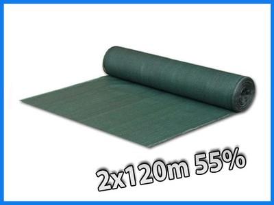 Siatka cieniująca osłona płot wiatru 2x120m 55% UV