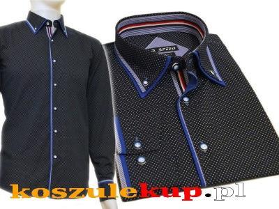 4243 Elegancka koszula męska granatowa w kropki  HszEQ