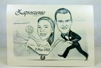 Zaproszenia ślubne Z Karykaturą śmieszne Z Humorem 5681039891