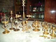 Zestaw świeczników z kryształkami