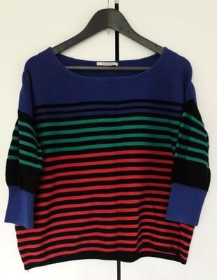 Pudełkowy sweter Camaieu paski kolorowy oversize