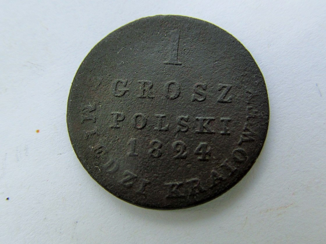 1 Grosz Polski z miedzi kraiowey, 1824.