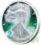 1$ FROZEN WALKING LIBERTY AURORA RHODIUM 1 OZ USA