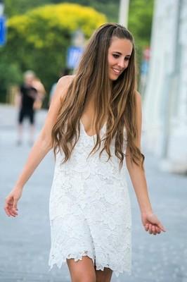 Sukienka biala ramiaczka koronka gipiura ZARA L