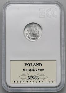 4547. 10 groszy 1962 - GCN MS66 - RZADKI ROK