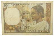 38.Madagaskar, 100 Franków 1950-1951 rzadki, St.3