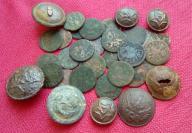 Stare monety,guziki wojskowe-wykopki orginalne