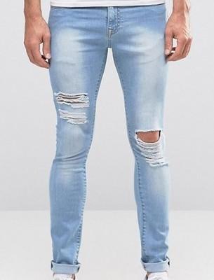 mj96 jeansy rurki jasne porwane dziury W36 L32
