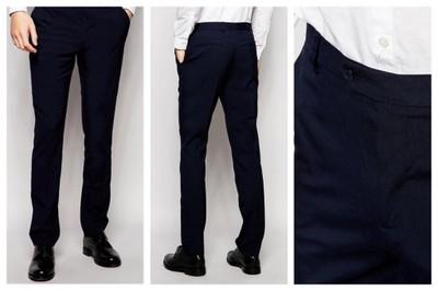 mm14 spodnie czarne eleganckie slim pasek W33 L32