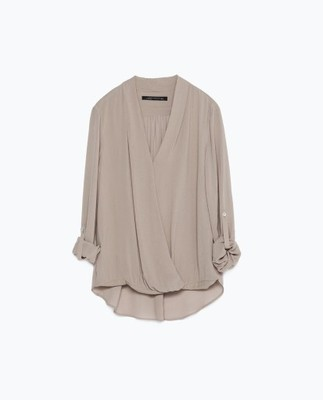 ZARA Drapowana koszula bluzka kopertowa 34 XS 6606399543  ra1cC