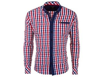 Koszula męska slim krata OMBRE K151 czerwony S 6568136001  7yyaK