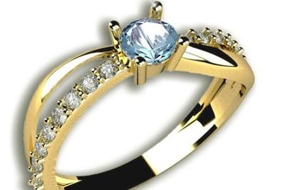 50złoty Pierścionek Zaręczynowy Akwamaryn R19 6678040927