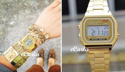 złoty zegarek timex elektorinczny