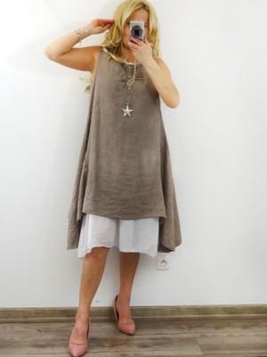 d8c43f55d5 Włoska Beżowo biała lniana sukienka - 6835067019 - oficjalne ...