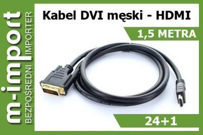 Najnowszy Kabel HDMI 1.4b DVI 24+1 FullHD 3D 2m