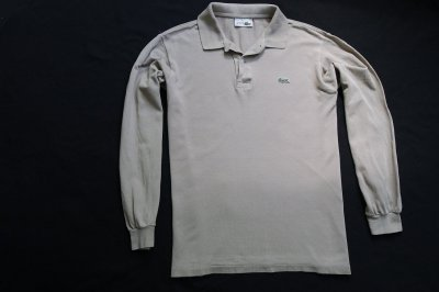 LACOSTE koszulka polo beżowa logowana markowa__M/L