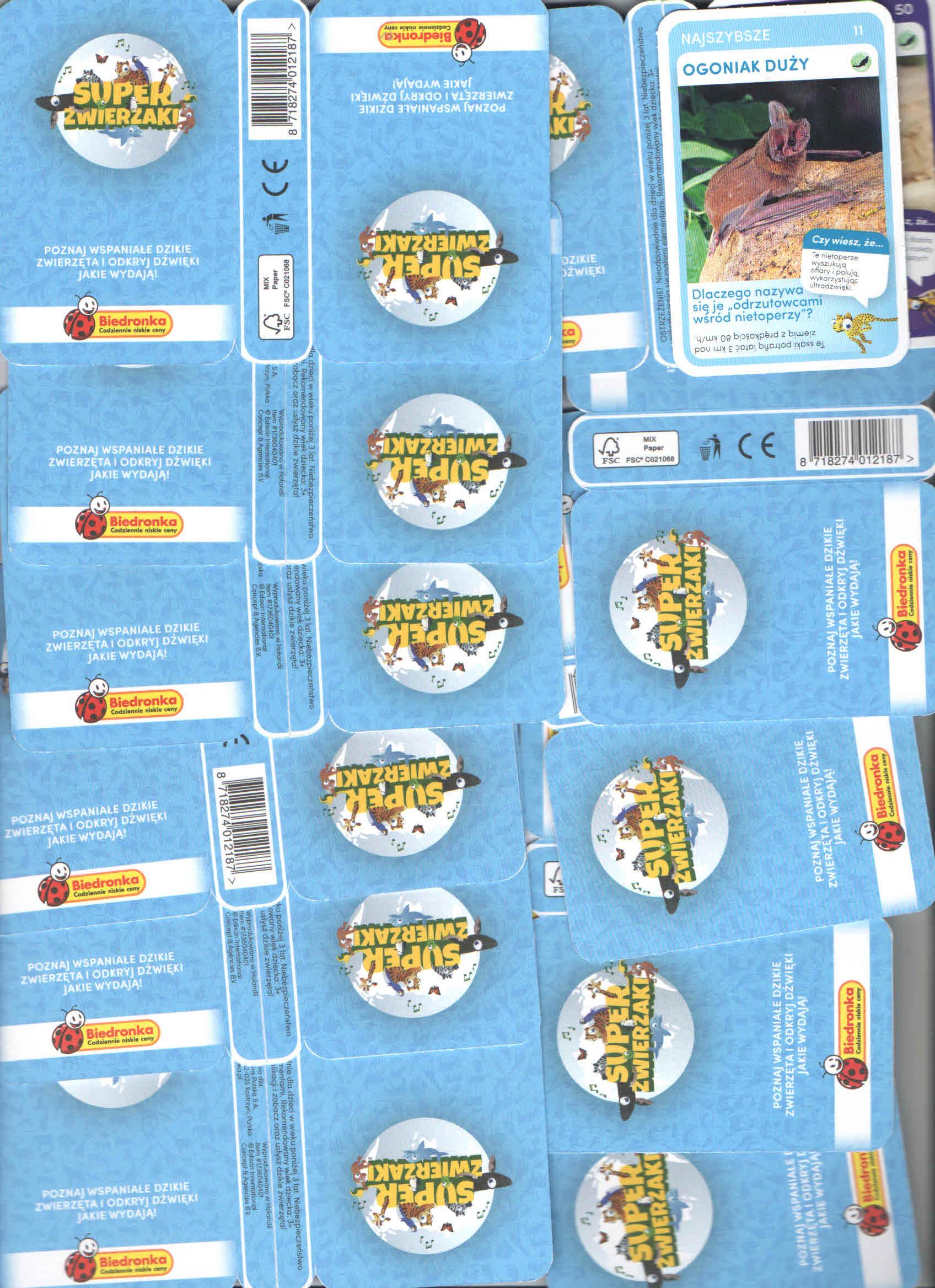 karty 44 sztuki Super zwierzaki Biedronka