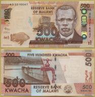 -- MALAWI 500 KWACHA 2012 AD P61a UNC ryba