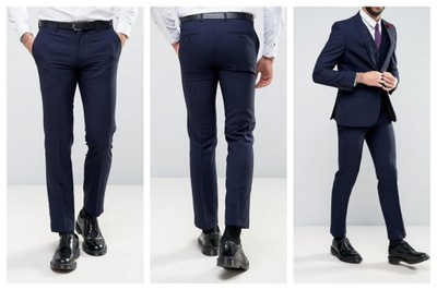 mn35 spodnie eleganckie eleganckie slim W40 L32