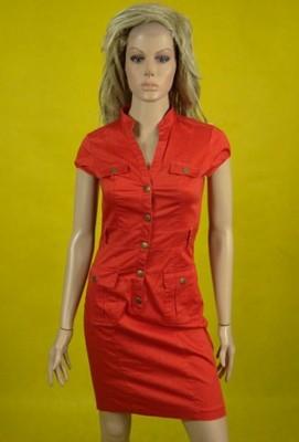 H&M śliczna sukienka szmizjerka czerwona 34 36