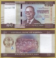 -- LIBERIA 20 DOLLARS 2016 AA Pnew UNC