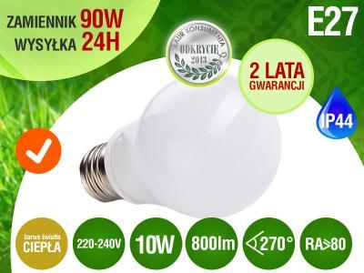 Żarówki LED 10x E27 SMD2835 10W 800lm=100W RA>8