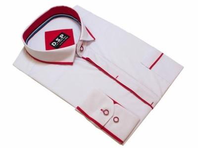 0e1861d51a0dd1 40/41 Koszula biała kryta plisa czerwone wstawki - 6638536991 ...
