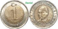 1 lira z 2005 roku z Turcji