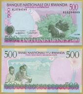 -- RWANDA 500 FRANCS 1998 AL P26 UNC