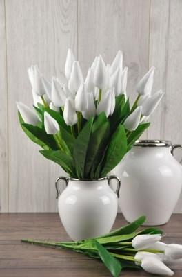 Dekoradom Tulipany Białe Bukiet Kwiaty Sztuczne 6677958456