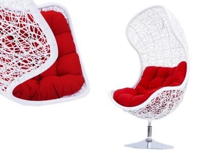 Fotel Technorattan Biały Piękny Ogród Obrotowy 360