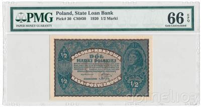 8067. Mił.30, 1/2 mkp 1920 - PMG 66