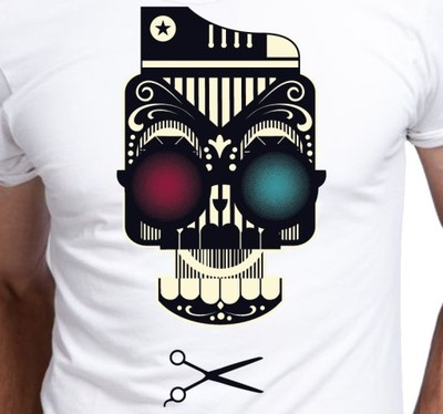 Koszulka S T Shirt Męski Czaszka Fryzjer A079 6736184190