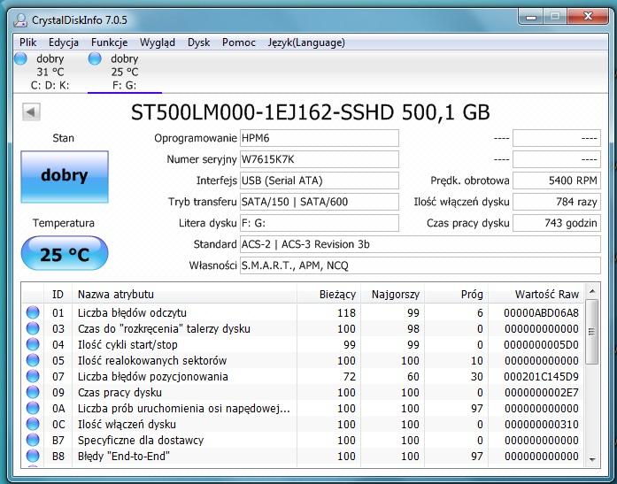 Seagate ST500LM000-1EJ162 SSHD 500GB Jak nowy