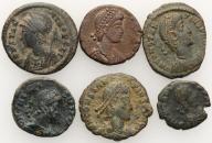 Rzym follisy brąz III-IV w. n.e. lot 6 szt. st. 3