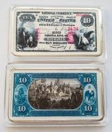 USA PIĘKNA SZTABKA 10$ AG KOLOR PLATED POLECAM