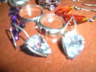Biżuteria srebrna i zwykła komplet