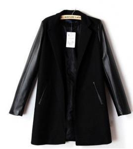 f94bae60d48e0 Płaszcz Marynarka czarna skórzane rękawy ala Zara - 5883825808 ...