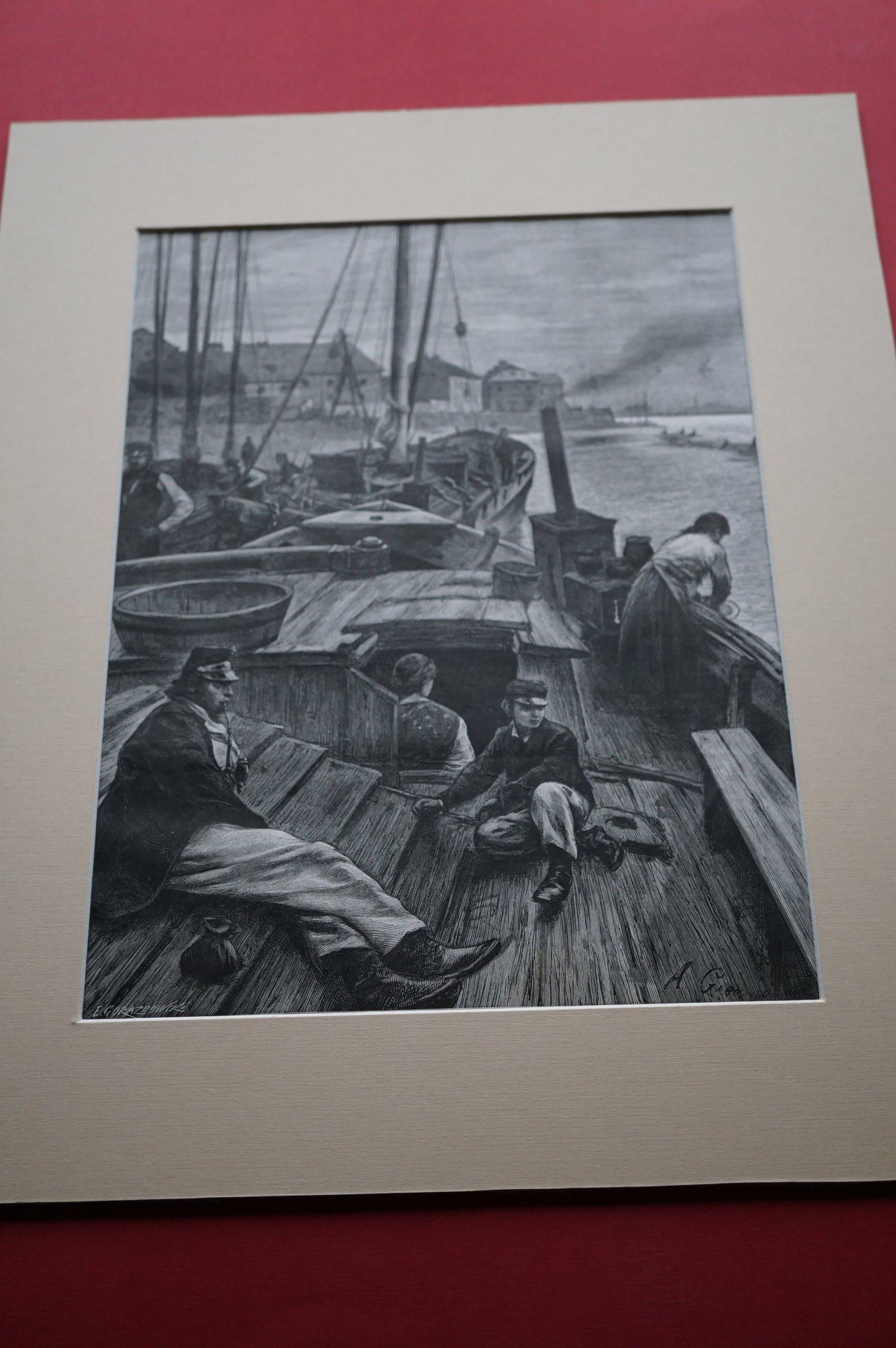 GIERYMSKI A: Na Wiśle pod Warszawą. Drzeworyt 1882