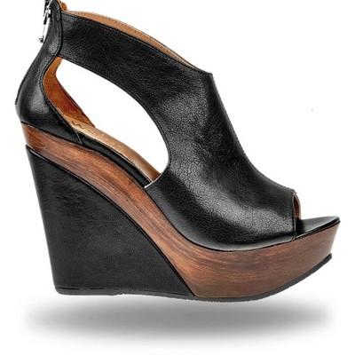 Sandały WOJAS 475351 Czarny Koturny Klapki i sandały