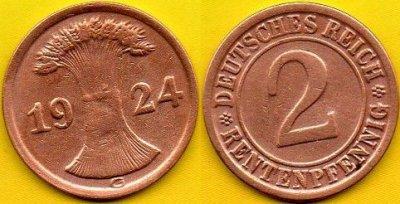 NIEMCY  2 Rentenpfennig  1924 r  G