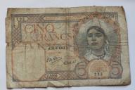 Banknot 5 Franków Algieria 1941