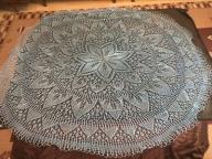 niebieska serweta obrus ręcznie robiony na prezent