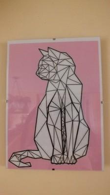Plakat Skandynawski Kot Geometryczny A4 Antyrama 6635505266
