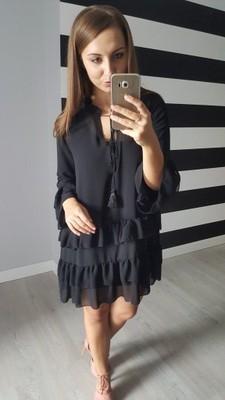 57ab290646 Czarna luźna sukienka falbanki HIT!!! - 6559076624 - oficjalne ...