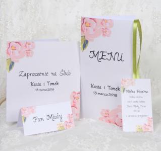 Piękne Zaproszenia Na ślub Cywilny Silver Flowers 5934207473