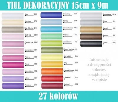 f2f1e59aba2a79 TIUL 15cm x 9m w rolce kokardy pompony tutu kolory - 6626109700 ...