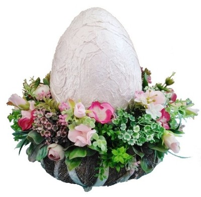 JAJKO wielkanocny stroik dekoracja z kwiatami
