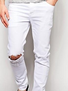 ja79 Spodnie męskie exASOS białe rozcięcia 48